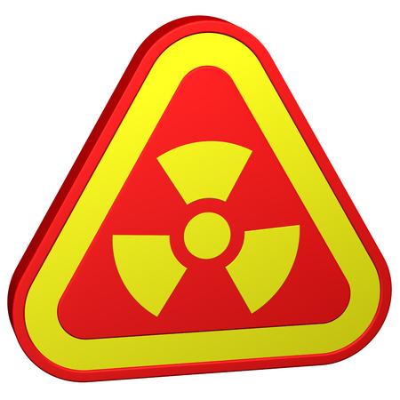 radioactivity: Radioactivity symbol, isolated on white background. 3D rendering. Foto de archivo