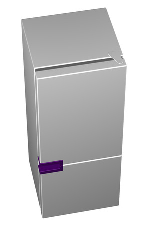 frig: White refrigerator with purple handle, isolated on white background. 3D rendering. Stock Photo