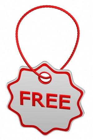 Free tag, isolated on white background. 3D rendering.