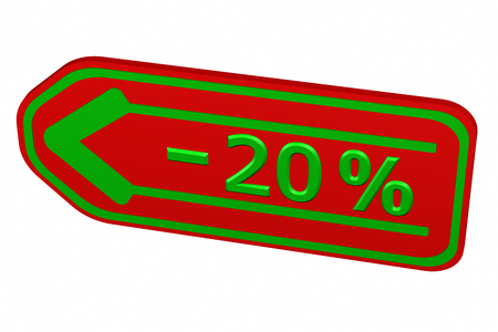 20: Discount - 20 % arrow, isolated on white background. 3D rendering.