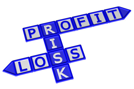 creating wealth: Blocks with word Profit, Risk, Loss, isolated on white background. 3D rendering.