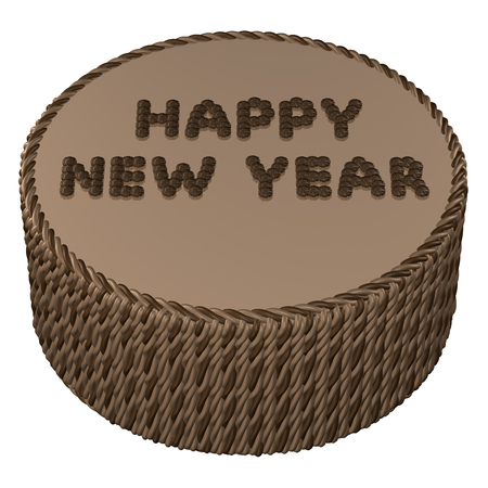 sweetstuff: Round chocolate cream cake with words happy new year, isolated on white background. 3D rendering.