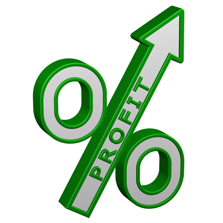 Concept: percent growth. Percent sign with arrow with profit, isolated on white background. 3D rendering.