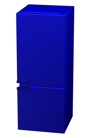 frig: Blue refrigerator, isolated on white background. 3D rendering.