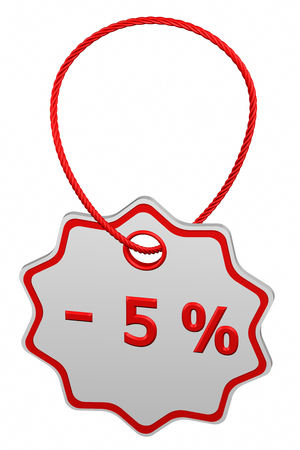 Discount - 5 % tag, isolated on white background. 3D rendering. Stock Photo