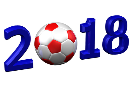 Concept: Soccer 2018, isolated on white background. 3D rendering. Stock Photo
