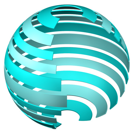 Abstarct background - sphere of tape, isolated on white background. 3D rendering. Stock Photo