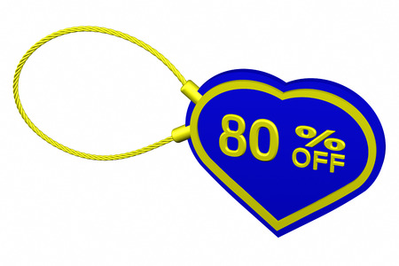 trade off: Heart tag with sign discount 80 % off, isolated on white background. 3D rendering.
