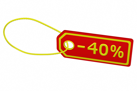 40: Discount - 40 % tag, isolated on white background. 3D rendering.