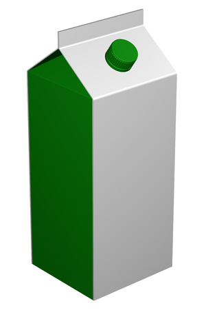 Carton of milk, isolated on white background. 3D rendering. Stock Photo