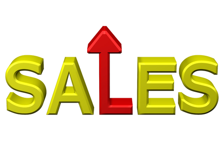 expressing positivity: Concept: word sales with arrow, isolated on white background. 3D rendering.