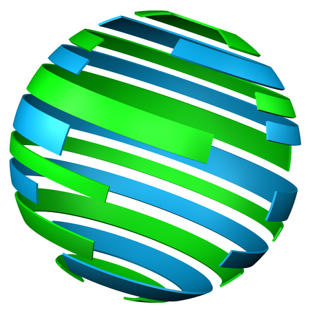 dcor: Abstarct background - sphere of tape, isolated on white background. 3D rendering. Stock Photo