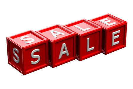 creating wealth: Word sale written white letter on red blocks, isolated on white background. 3D rendering.