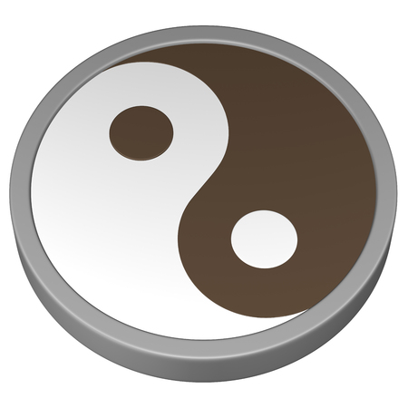 rival: Yin Yang Symbol, isolated on white background. 3D rendering.