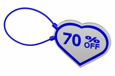 Heart tag with sign discount 70 % off, isolated on white background. 3D rendering. Stock Photo