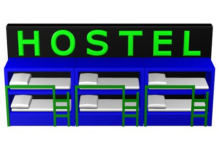 bursa: Concept: Hostel. Isolated on white background. 3D rendering. Stock Photo