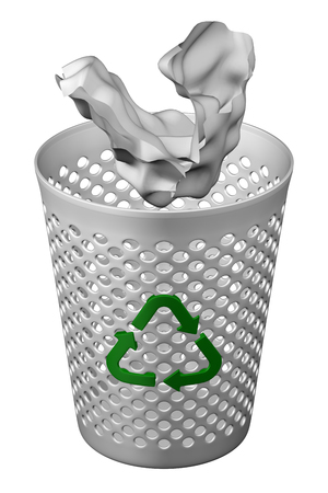 Crumpled paper fall in wastepaper basket with recycling symbol, isolated on white background. 3D rendering. Stock fotó