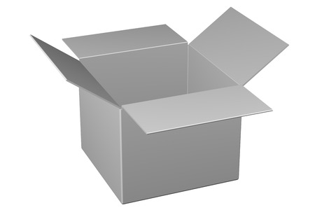 Cardboard box , isolated on white background. 3D rendering.