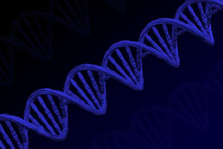 Blue DNA molecule on black and dark blue background. 3D rendering. 版權商用圖片 - 109443205