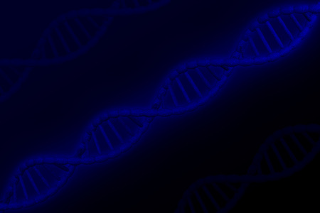 DNA molecule on dark blue background. 3D rendering.