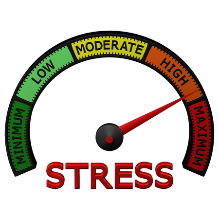 Stress meter with arrow, isolated on white background. 3D rendering. Stock Photo