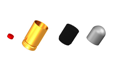 Parts of a cartridge (firearms), isolated on white background. 3D rendering.