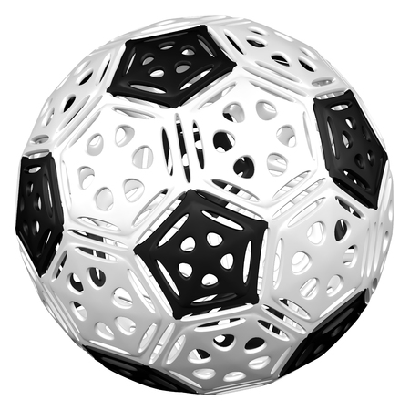 Cellular structures as soccer ball, isolated on white background. 3D rendering. Banque d'images