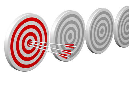 Success - Arrows in target, isolated on white background. 3D rendering.