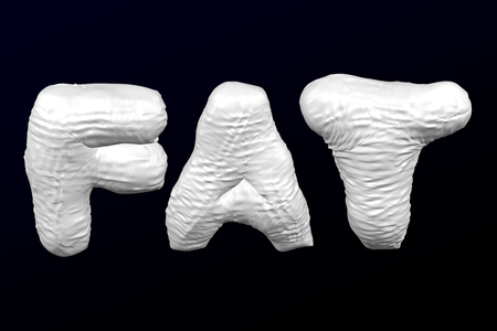 White word - fat on the black and dark blue background. 3D rendering.