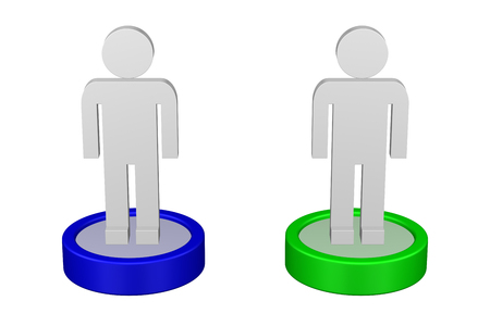 Concepts: Replacement two equal 3d flat man, isolated on white background. 3D rendering.