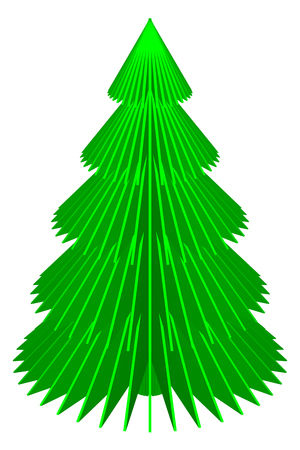 Paper christmas tree, isolated on white background. 3D rendering.