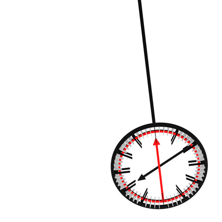 Pendulum with clock face with long arrows, isolated on white background. 3D rendering.
