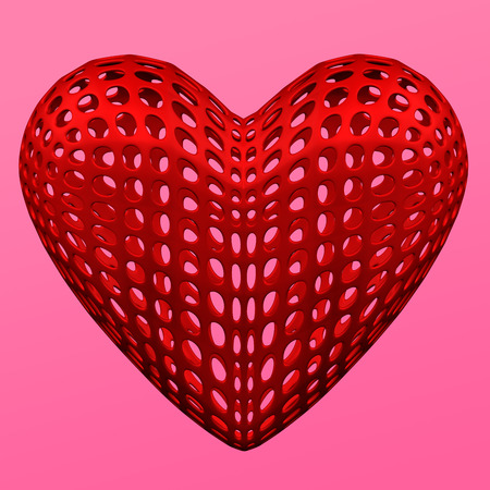 Abstract background - red heart shaped cellular structures on the pink background. 3D rendering.
