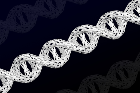 White DNA molecule cellular structure on the black and dark blue background. 3D rendering. 版權商用圖片