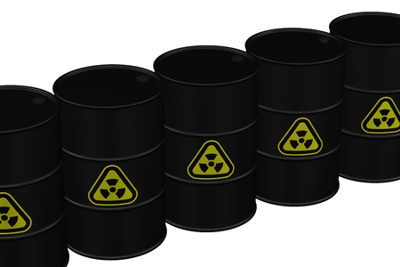 Radioactive waste - Black barrel with yellow radioactive warning symbol, isolated on white background. 3D rendering.