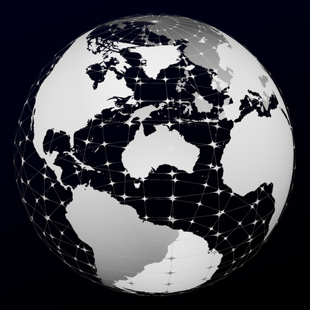 White transparent model of Planet Earth on black and dark blue background. 3D rendering.
