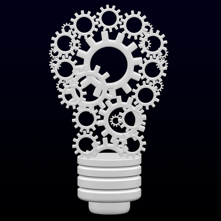 Light bulb design by cogs and gears on black and dark blue background. 3D rendering.
