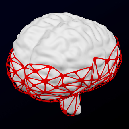 Internet addiction disorder. Human brain in the neton black and dark blue background. 3D rendering. 写真素材