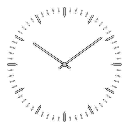 Flat clock face with arrows, isolated on white background. 3D rendering.