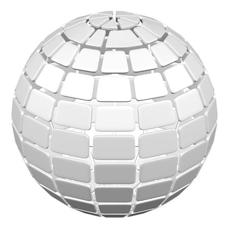 Abstarct background - sphère de plaque, isolé sur fond blanc. rendu 3D.