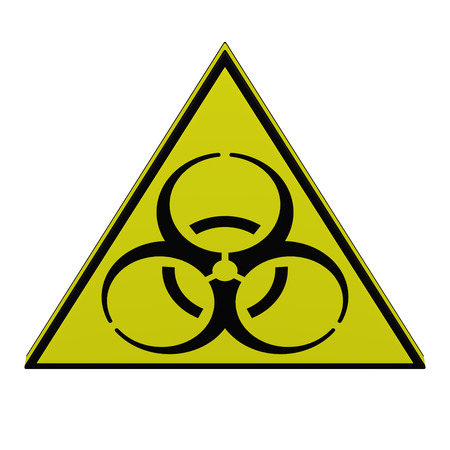 Biohazard sign, isolated on white background. 3D rendering.