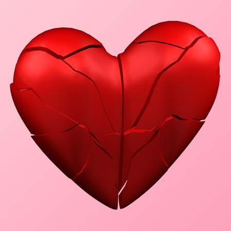 Abstract background - Heart shape break up on the pink background. 3D rendering.