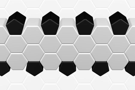 Soccer background - hexagonal and pentagonal shapes on white background. 3D rendering.