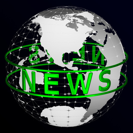 Green text News around transparent model of planet Earth on black and dark blue background. America. 3D rendering.