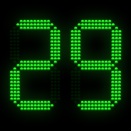 Green sports shot clock countdown on black background. 3D rendering. 写真素材