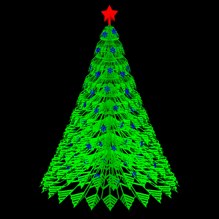 Green paper christmas tree on black and dark blue background. 3D rendering. 写真素材