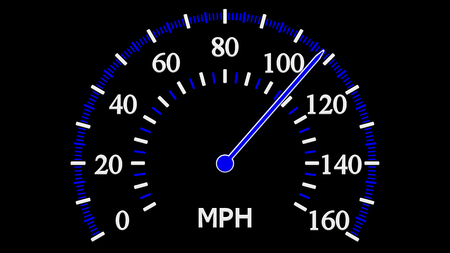 Speedometer on black background. Full frame. 3D rendering.