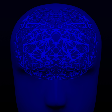 Artificial Intelligence. Cellular structures as artificial brain on black and dark blue background. 3D rendering. 写真素材