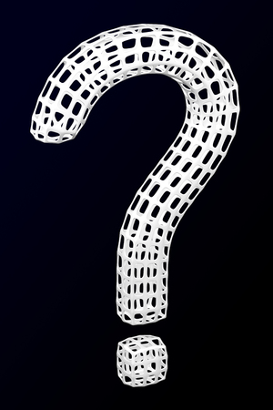 White question sign shaped cellular structures on the black and dark blue background. 3D rendering.