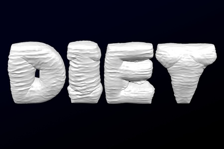 White word Diet with folds on black and dark blue background. 3D rendering. Imagens